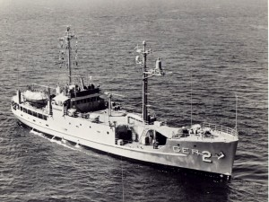 FILE - In this undated file photo from the U.S. Navy, U.S. Navy USS Pueblo sails underway at sea. The ship is North Koreafs greatest Cold War prize, a potent symbol of how the country has stood up to the great power of the United States, once in an all-out ground war and now with its push to develop the nuclear weapons and the sophisticated missiles it needs to threaten the U.S. mainland. (AP Photo/USN, File)